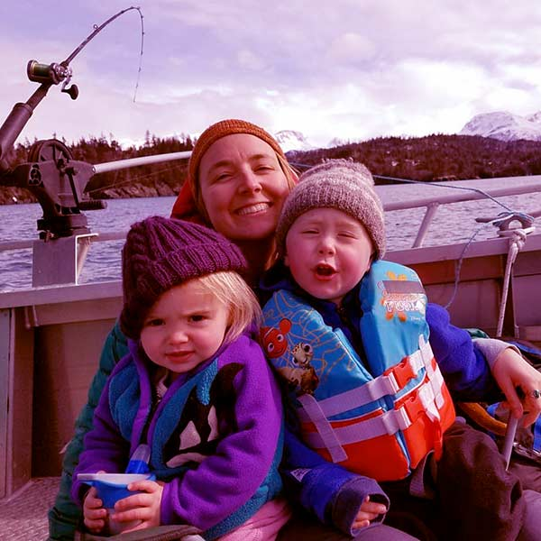Image of Caption: Eve Kilcher with her kids son Findlay Farenorth and daughter Sparrow Rose