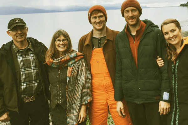 Image of Caption: Otto Kilcher & Charlotte Kilcher with their two sons & daughter in law.