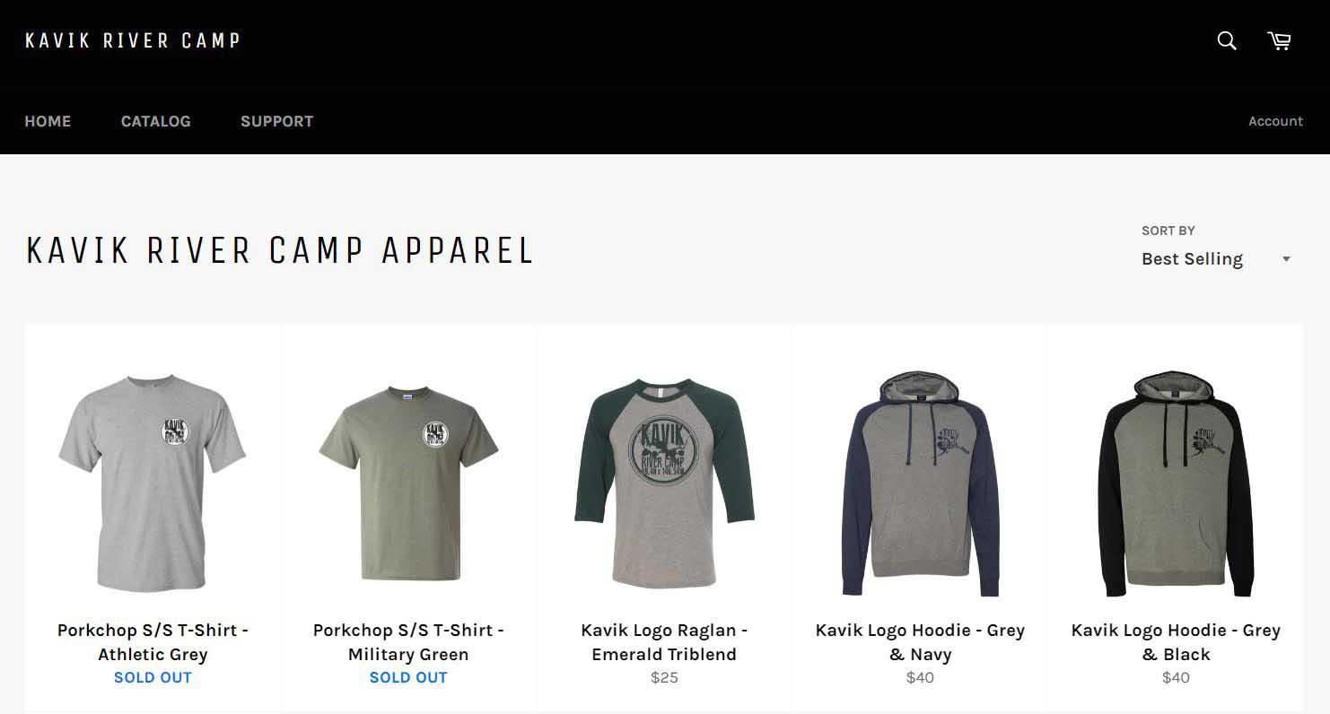Screenshot of online store of Kavik River Camp.