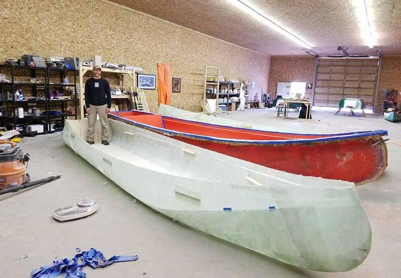 Michael Michael Manzo building a canoe.